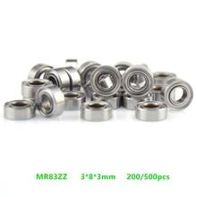 Free shipping 200/500pcs MR83ZZ MR83Z MR83 3x8x3mm miniature deep groove ball bearing 3*8*3mm