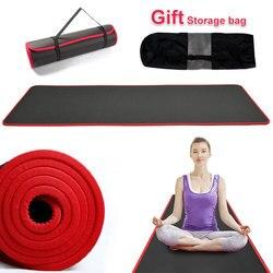 10 мм нескользящий Экстра толстый коврик для йоги 183 см * 61 см износостойкие NBR Пилатес подушечки для занятий фитнесом без вкуса с повязками