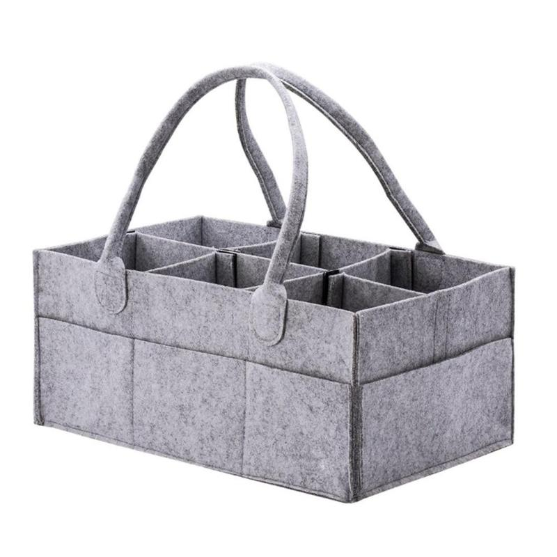 Felt Baby Diaper Storage Bag Multi-slots Clothes Basket Organizer (Grey)