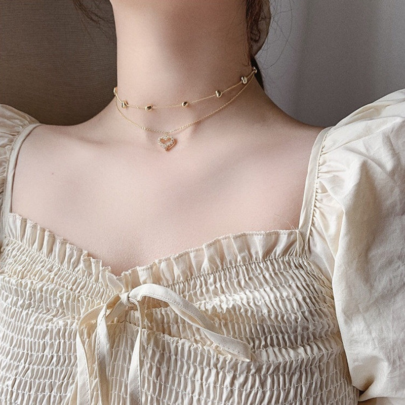 Aesthetic Multilayer Tassel Love Heart Charm Chokers Necklace Female South kpop for Women Vintage Gold Color Chokers Collar