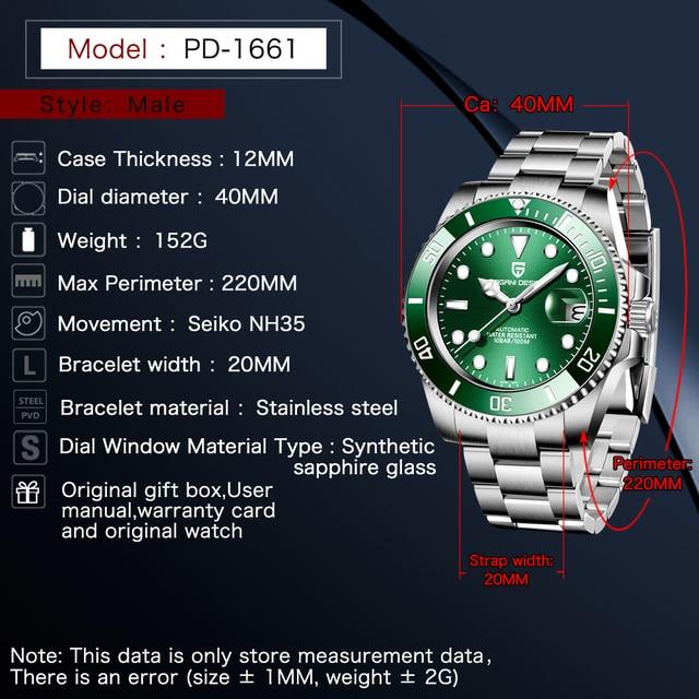 2021 PAGANI Design New 40mm Men Luxury Automatic Mechanical Wrist Watch Men Stainless Steel Waterproof Watch Relogio Masculino 2