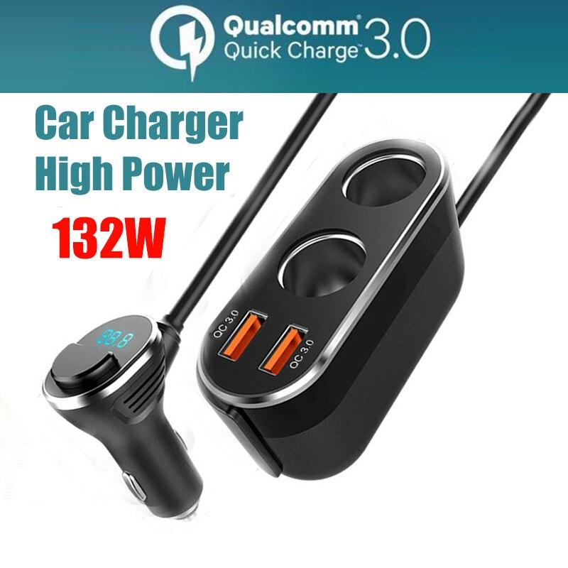 Двойной USB 132W Автомобильное зарядное устройство гнездо адаптеры питания QC3.0 автомобилей зарядное устройство с цифровым дисплеем для iphone ...