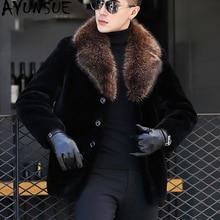AYUNSUE Для мужчин натуральный мех пальто зимняя куртка стрижки овец Шерстяное пальто енота меховой воротник роскошные Для мужчин s пальто и куртки EL811-1