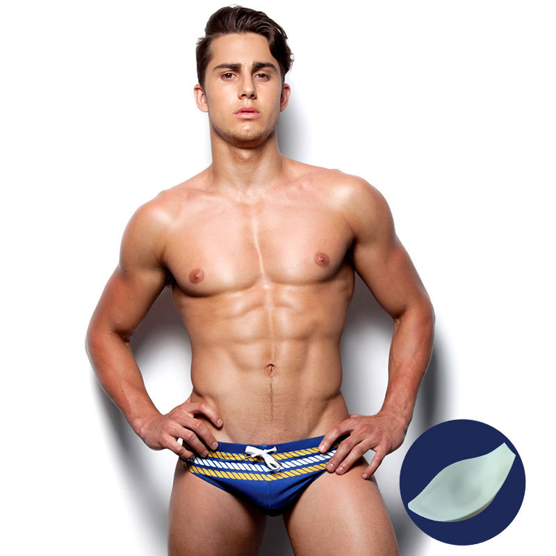 Padded Stripe Men Swimming Briefs Sexy Pouch Bulge Enhancing Push Up Cup Cueca Gay Swimwear Calzoncillos Hombre Slip Enlarge A2