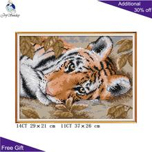 Joy Sunday Tiger Craft DA244 14CT 11CT Stamped and Counted Home Decoration A Lying Tiger Ne