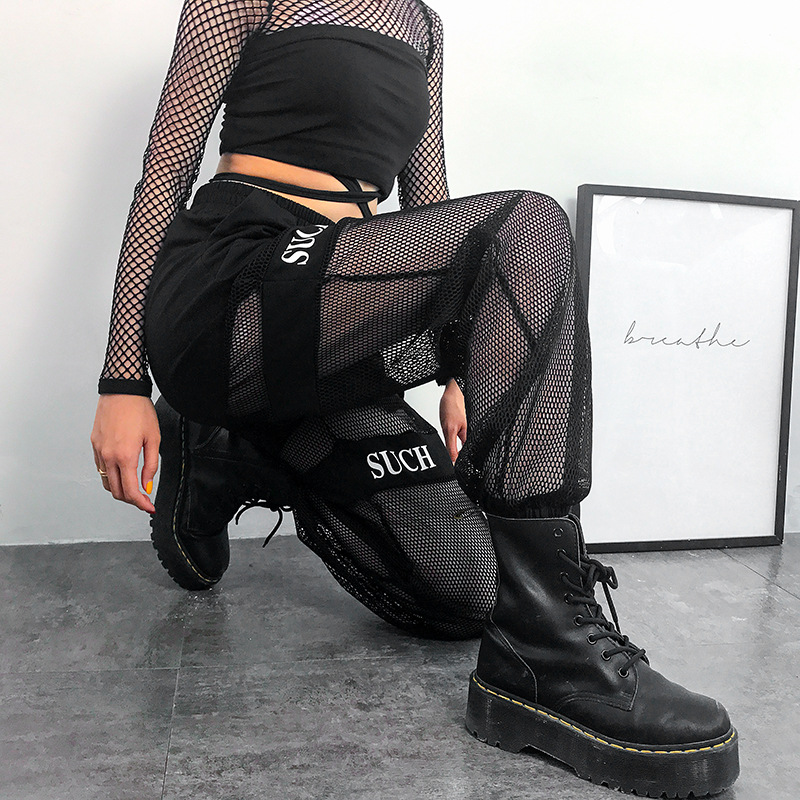 Black Gothic Streetwear Pants Casual Fishnet Mesh Patchwork Baggy Pants Women Summer 2020 Elastic Igh Waist Trousers