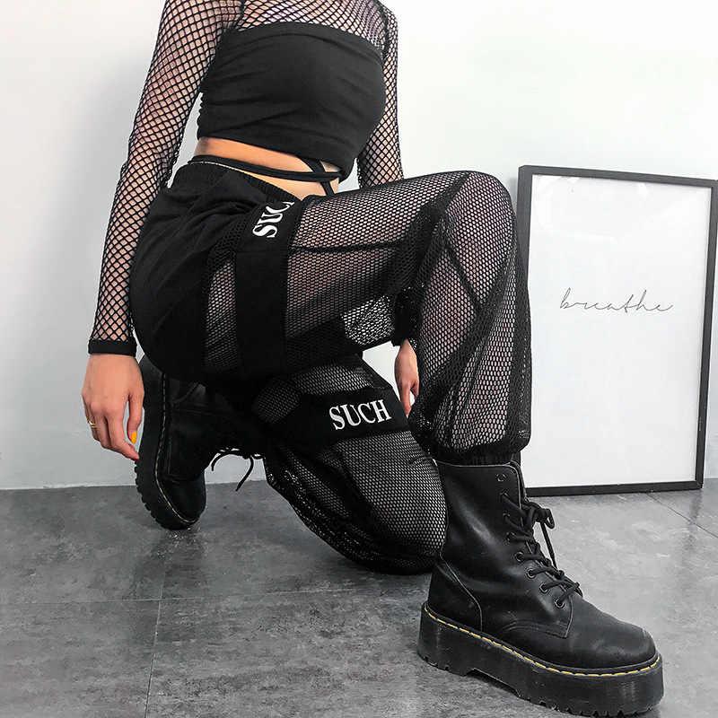 Black Gothic Streetwear Pants Casual Fishnet Mesh Patchwork Baggy Pants Women Summer 2020 Elastic Igh Waist Trousers