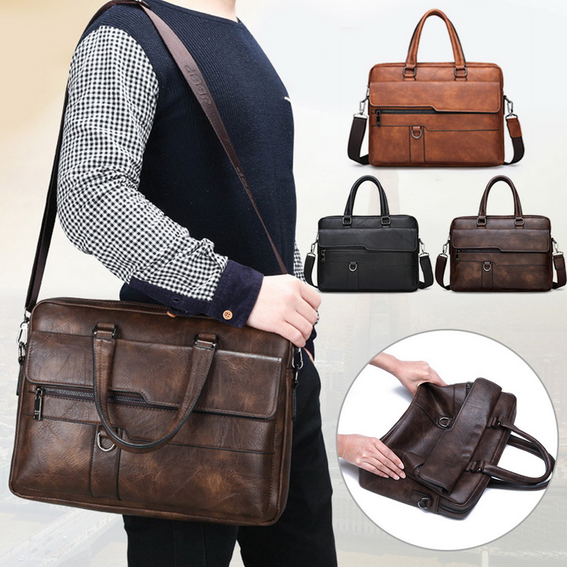 Retro Men Solid Color Bag Men Faux Leather Briefcase Large Capacity Tote Shoulder Bag 2019 New Casual Business Laptop Briefcase