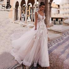 Sodigne сексуальное богемное свадебное платье 2020 с v образным