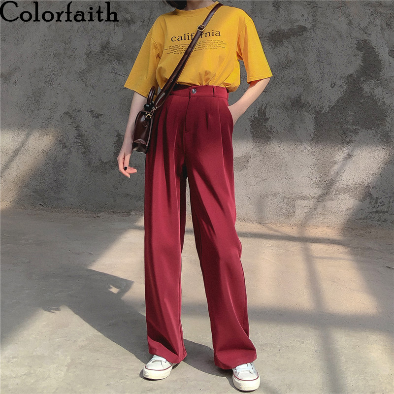 Colorfaith New 2020 Spring Summer Women Pants Straight High Waist Loose Pleated Wide Leg Pockets Casual Wild Long Trousers P832