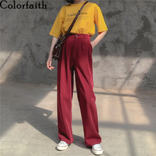 Women Pants High-Waist Leg-Pockets Long-Trousers Pleated-Wide Loose Spring Summer Colorfaith