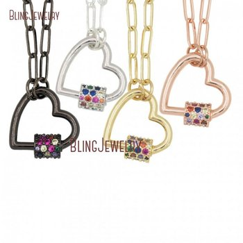 Heart Lock Necklace Zircon Micro Paved Screw Clasp Carabiner Charmholder Necklace NM30822