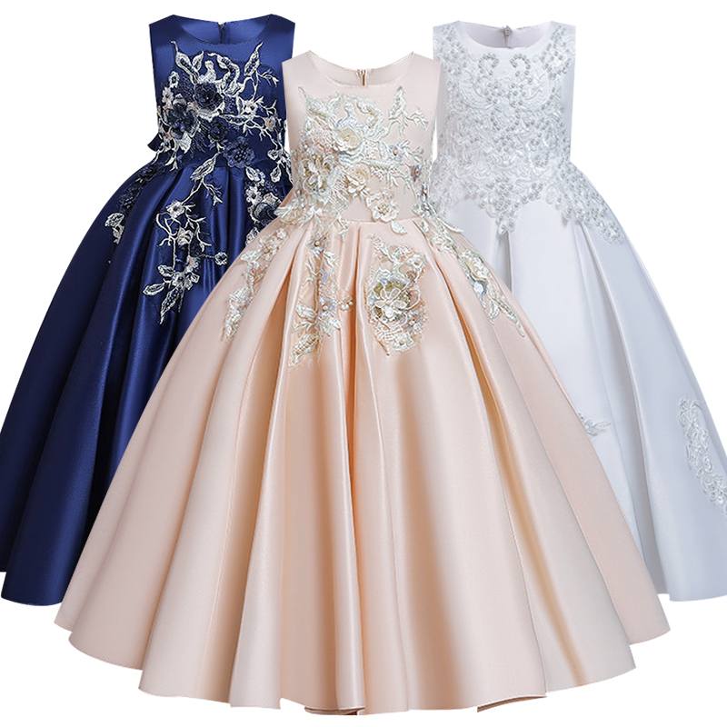 Flower Girl Wedding Party Ten-year-old Girl Bridesmaid Embroidery Dress Girl Birthday Party Dinner Ball President Dress