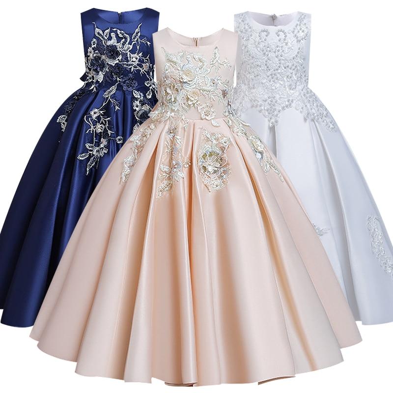 Flower Girl Wedding Party Ten-year-old Girl Bridesmaid Embroidery Dress Girl Birthday Party Dinner Ball President Dress