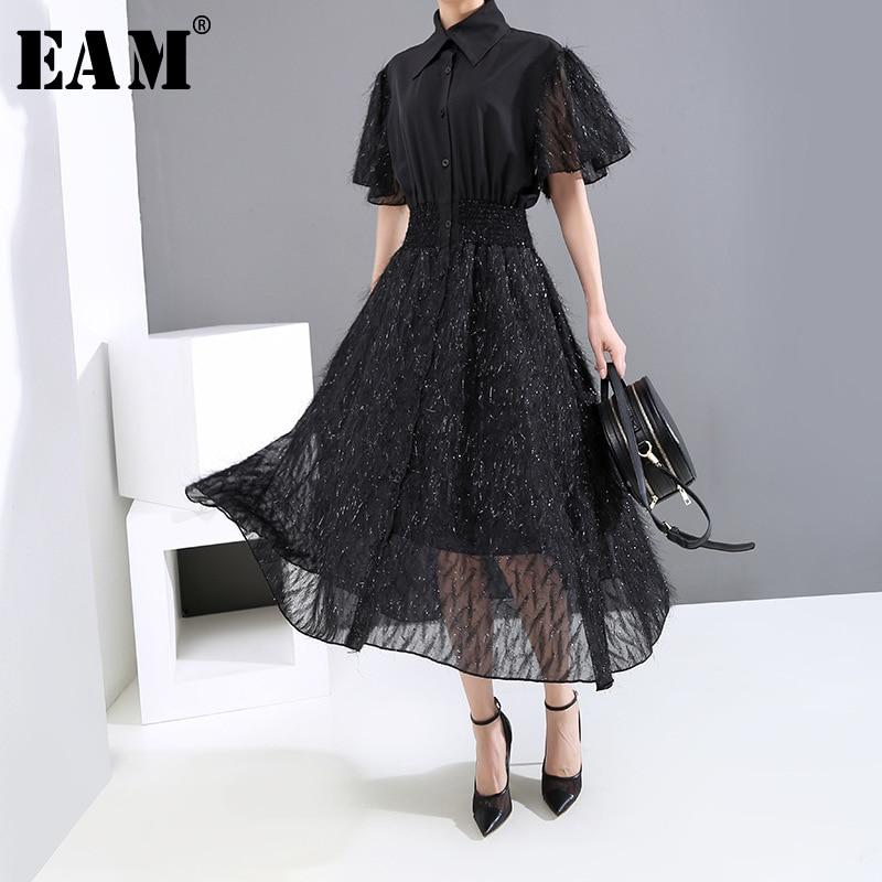 [EAM] Women Black Tassels Split Joint Temperament Midi  Dress New Lapel Half Sleeve Loose Fit Fashion Spring Summer 2020 1U122