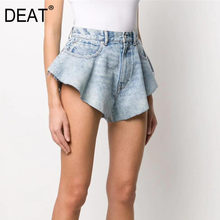 DEAT 2021 new summer fashion mesh clothing denim blu chiaro tasche lavate cerniere pantaloncini pantaloni femminili WL38605L