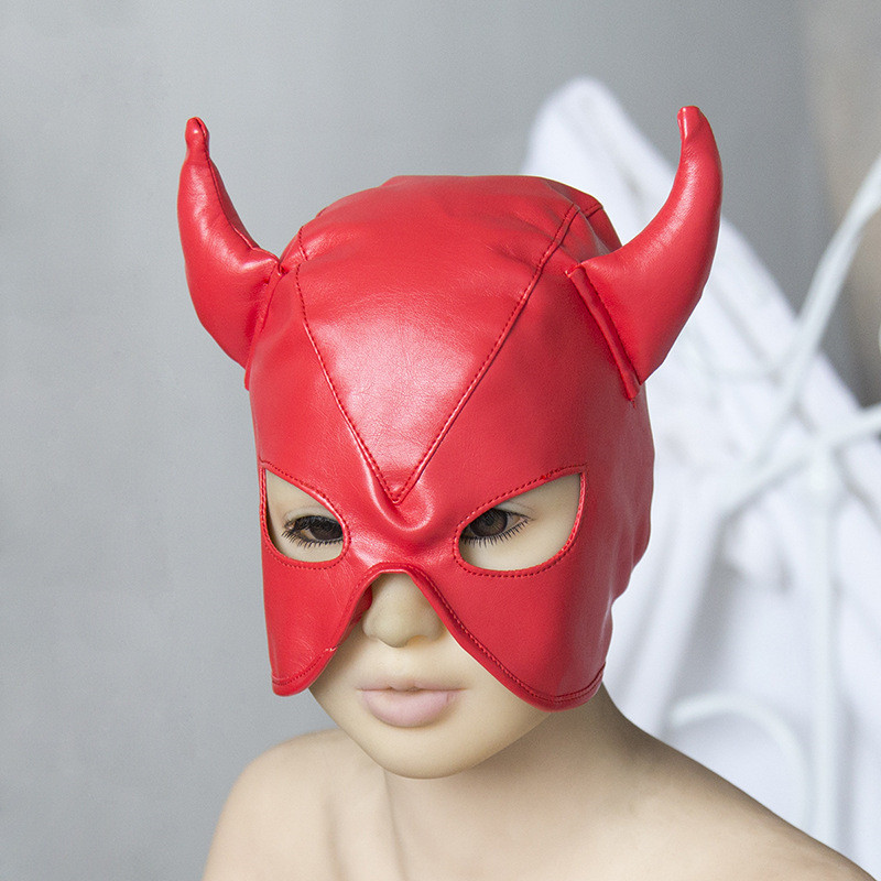 Sexy Exotic Devil Mask Ox Horn Hoods For Women PU Leather Role Play Adult Sex Shop Sex Accessories For Couples For Sex