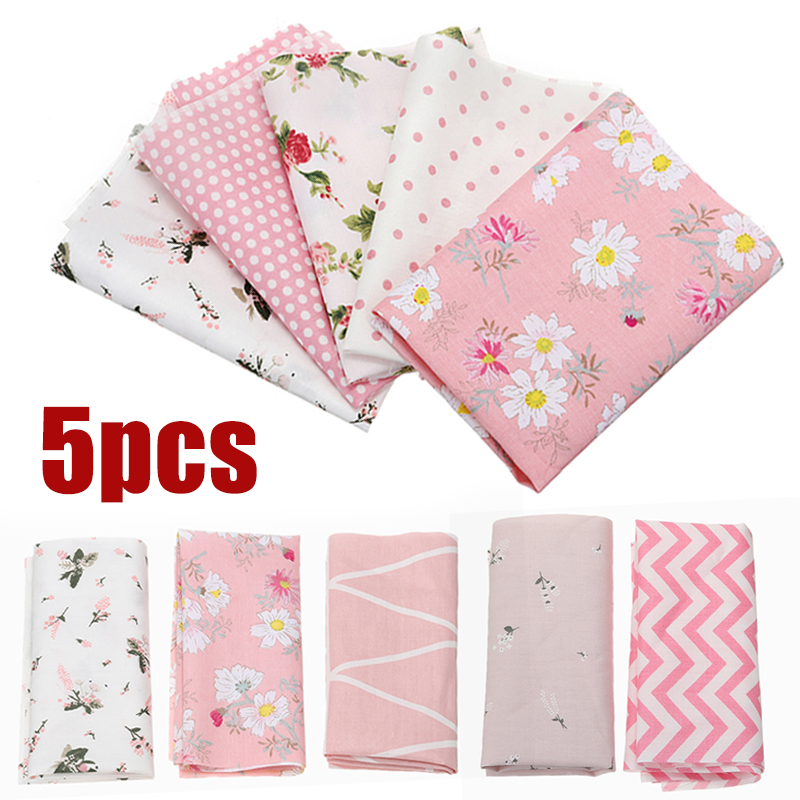 6pcs Pre-Cut Plain Cotton Quilt Cloth Fabrics Colorful Cloth for Sewing