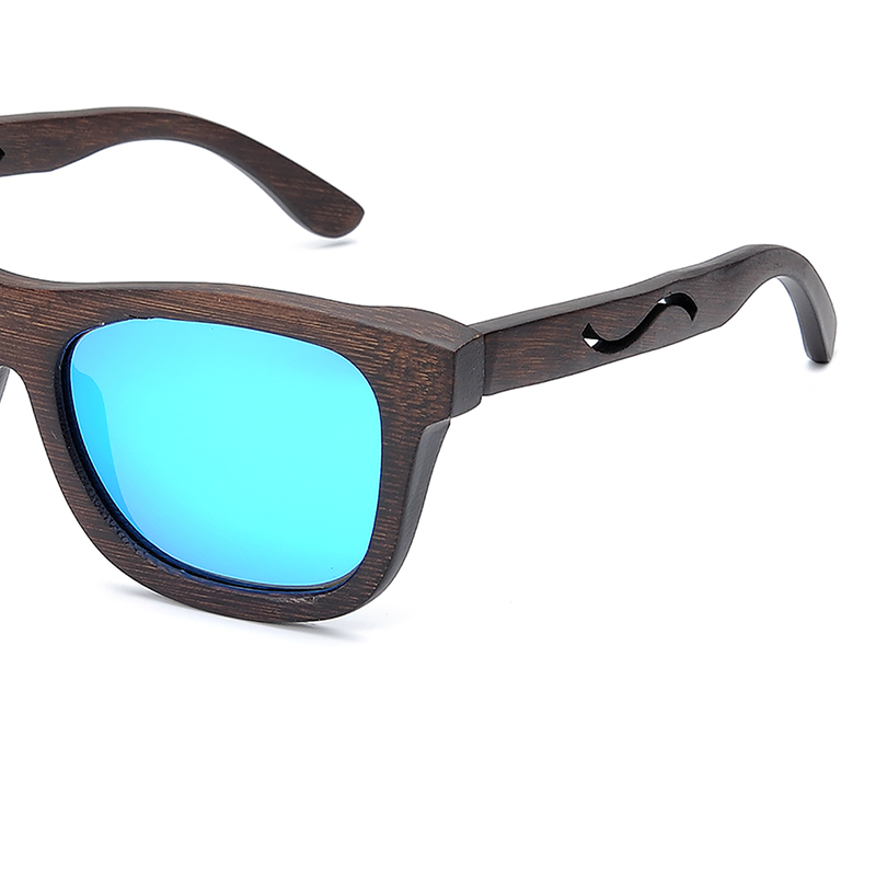 BG006d -CZC  Ebony Wooden Sunglasses for Women And Mens With Bule Polaried Lens  (9)