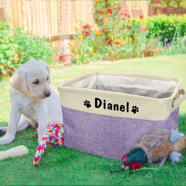 Personalized Pet Dog Toy Storage Basket Dog Canvas Bag Foldable Pet Toys Linen Storage Box Bins Dog Accessories Pet Supplies 5