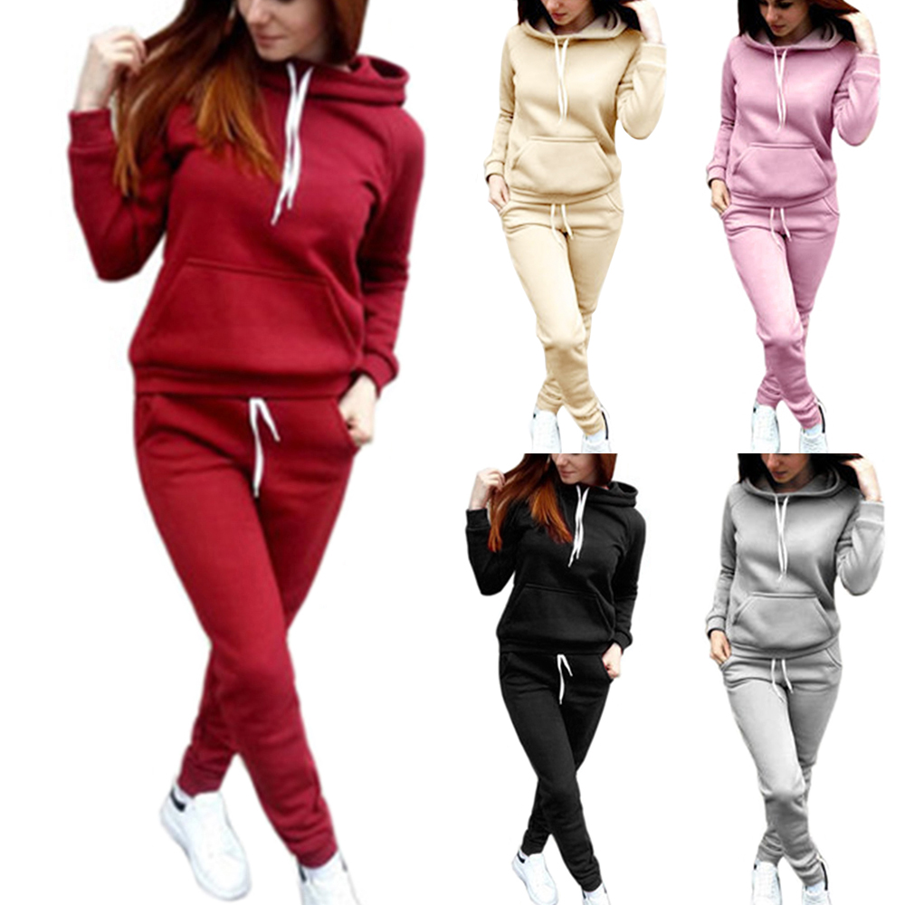 PUIMENTIUA Women Hoodies Pant Clothing Set Casual 2 Piece Set Warm Clothes Solid Tracksuit Women Set Top Pants Ladies Suit 2019