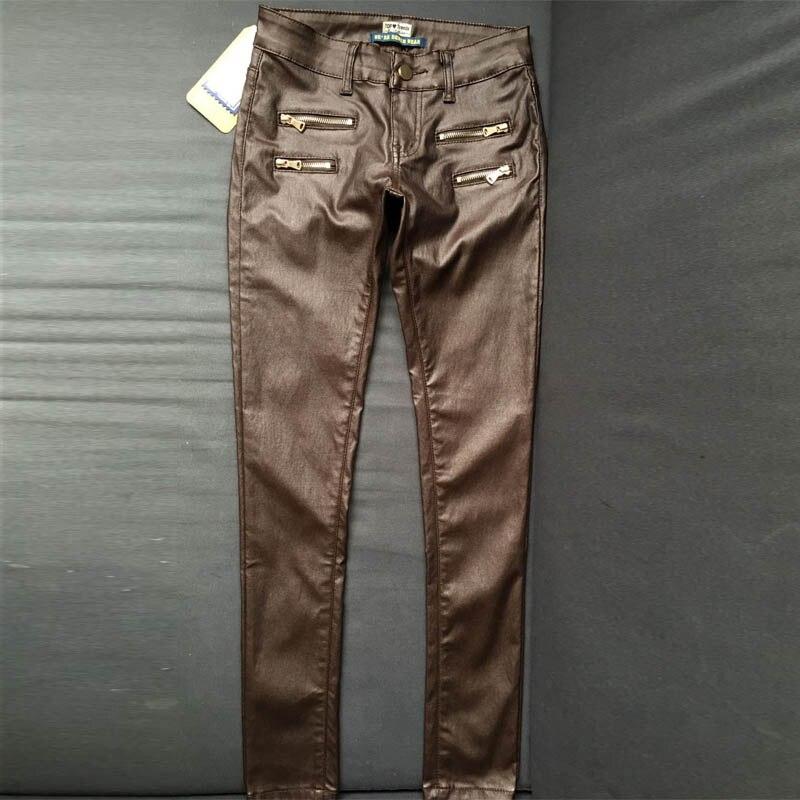 Taille basse crayon Pantalon femmes haute rue Double fermeture éclair femme Faux cuir Pantalon nouvelle mode extensible Calca De Couro Pantalon