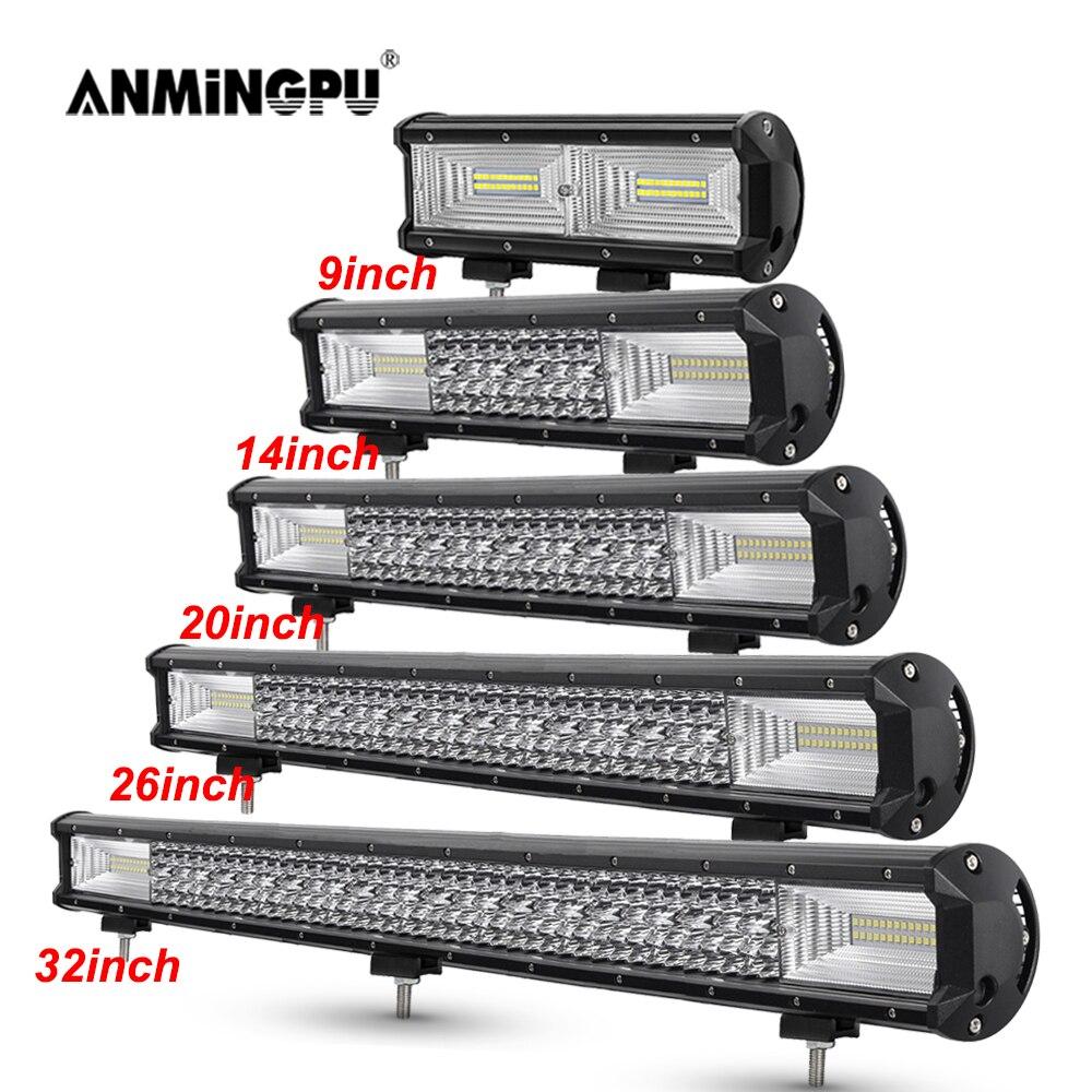 ANMINGPU 9 14 20 26 32 Inch Off Road LED Light Bar 12V 24V Spot Flood Combo LED Work Light Bar Truck 4WD 4x4 ATV Car Fog Light