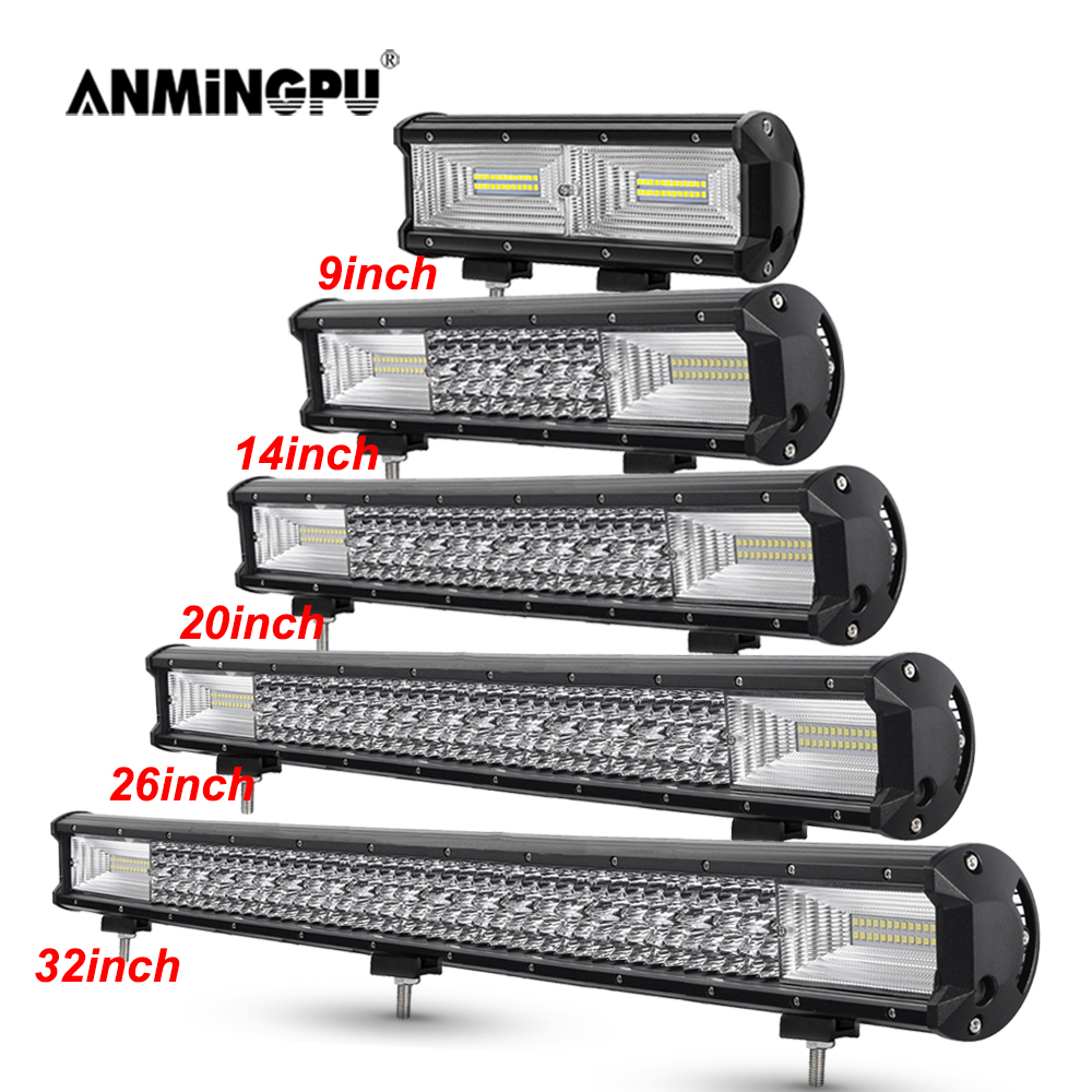 SKYWORLD 7D LED Work Light Bar 4inch 36W Triple Row Spot Driving Light Fog Lamp with Wiring Harness Kit for Offroad Boat Truck 4WD SUV Boat ATV 4x4 Pickup