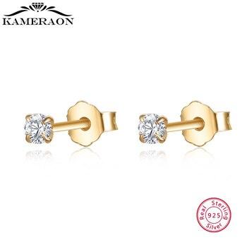 100% Настоящее серебро 925 модные маленькие серьги гвоздики с одним бриллиантом гвоздики европейские свадебные ювелирные изделия подарок для женщин|Серьги-гвоздики|   | АлиЭкспресс