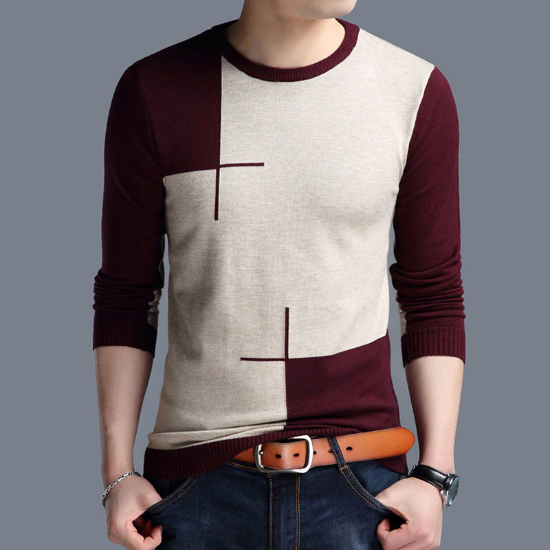 2020 New Fashion Mens Knitwear Sweaters Patchwork O-neck Pullovers Mens Striped Sweater Fashion Korean Slim Fit Sweater Male