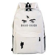 цена на High Quality Billie Eilish Harajuku print schoolbag Mochila bag cartoon boy and girl school bag