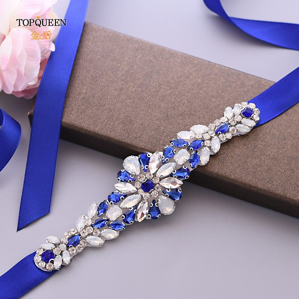 TOPQUEEN S424 Royal Blue Rhinestone Belt Women's Rhinestone Crystal Belt Moroccan Caftan Belt Blue Sequin Dress