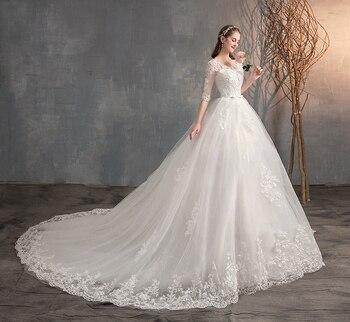 2021 New V Neck Half Sleeve Wedding Dresses Long Lace Embroidery Train Bridal Gown Elegant Plus Size Vestido De Noiva
