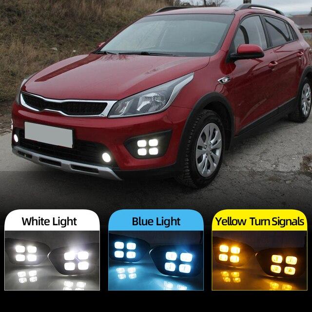 Auto 12V DRL Tag Lichter Lampe Für Russland KIA RIO X Linie 2018 2019 Auto Fahren Tagfahrlicht lichter auf Auto DRL Super Helle
