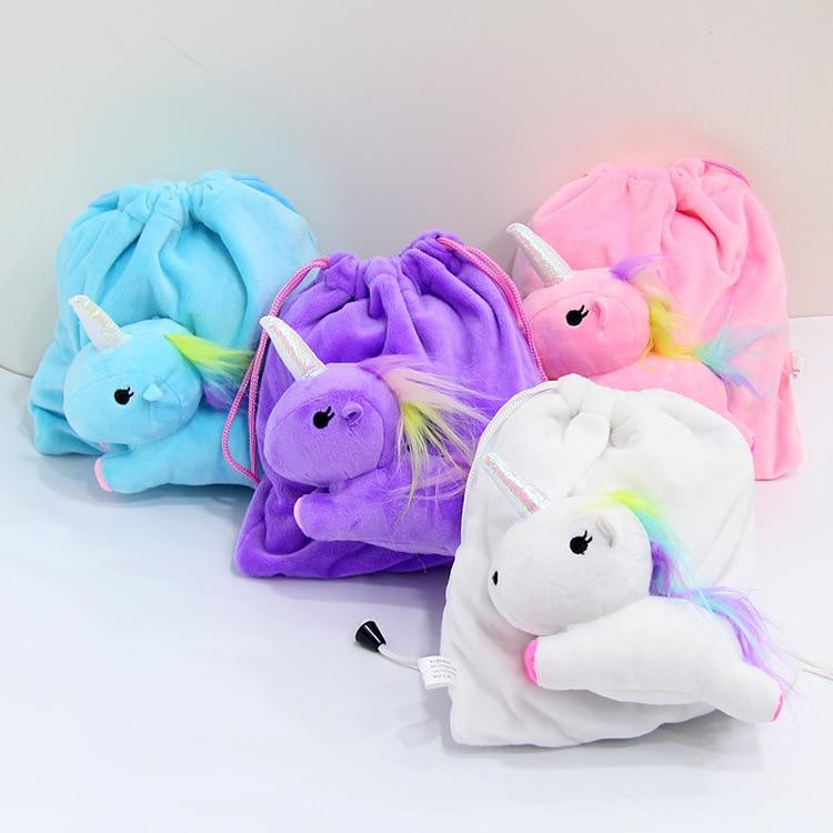Cartoon Unicorn Creative Drawstring Bundle Pocket Bag Wallet Kids Cute Plush Coin Purse Storage Bags Stuffed Animal Clutch Gift