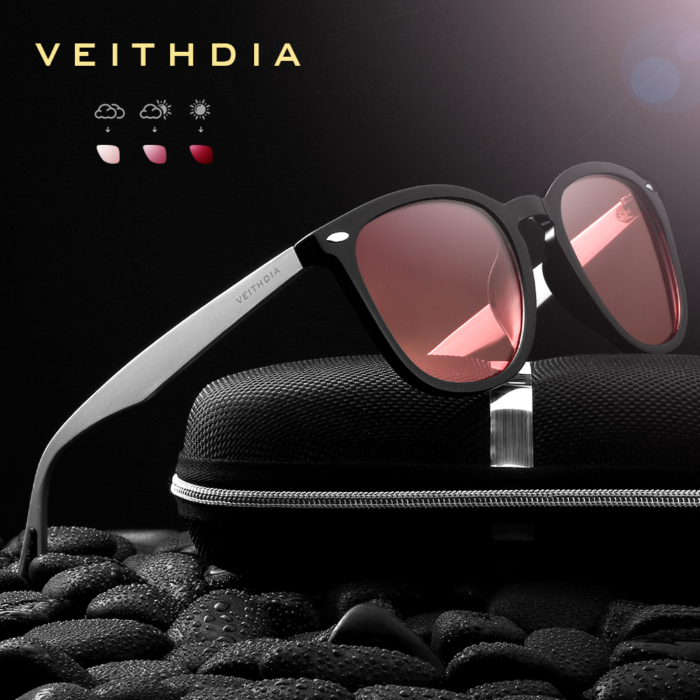 VEITHDIA Brand Unisex Aluminum+TR90 Men's Photochromic Mirror Sun Glasses Eyewear Accessories Sunglasses For Women 6116