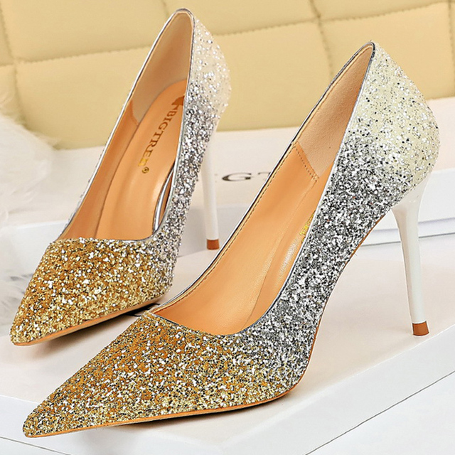 Luxury  Colorful Sparkly Sequin Pumps  2