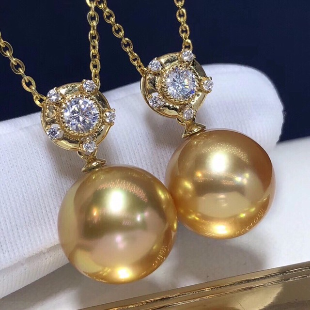 Pearl Pendant 12-13mm Fine Jewelry 18K Gold Natural Ocean Golden Pearl Pendant Necklaces for Women FIne Pearls Pendants 5