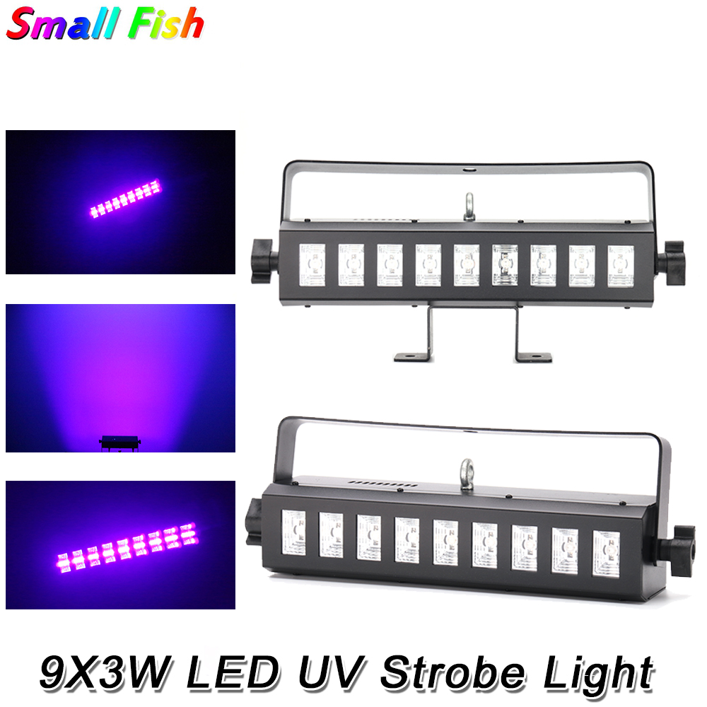 2Pcs/Lot LED UV Wall Washer Light 9X3W LED Display DJ Party Holiday Christmas Club Sound Activated Flash Stage Lighting Effect
