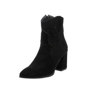 Image 3 - Giày Bốt Nữ Cao Gót Ống Đơn Giản Mùa Đông Đa Năng Màu Boot Khóa Kéo Đàn Mũi Nhọn Nữ Giày Size34 48 Đen màu Be