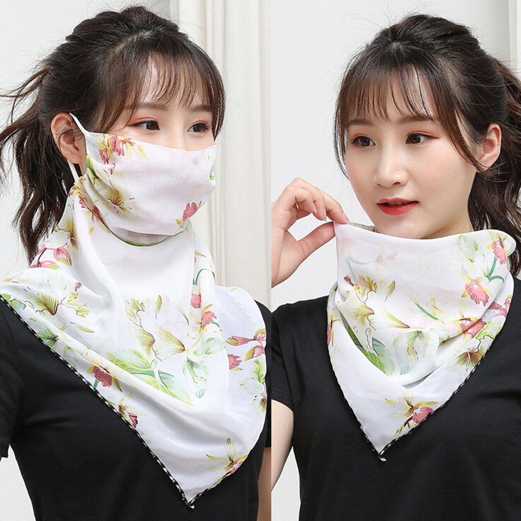 Chiffon Cycling Face Cover Women Outdoor Sun Protection Print Scarf Dustproof Neck Scarf Protection Bandana Anti-uv Face Cover(China)