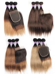 Mogul Hair Weave Closure Honey-Blonde Straight Ombre 3-Bundles Brazilian Black with 200g/Set