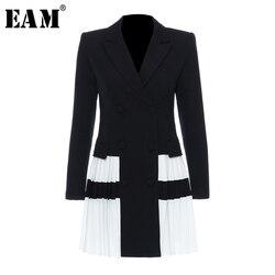 Женский плиссированный Блейзер EAM, черный свободный Блейзер контрастных цветов с отложным воротником и длинным рукавом, весна-осень 2020, 1T306
