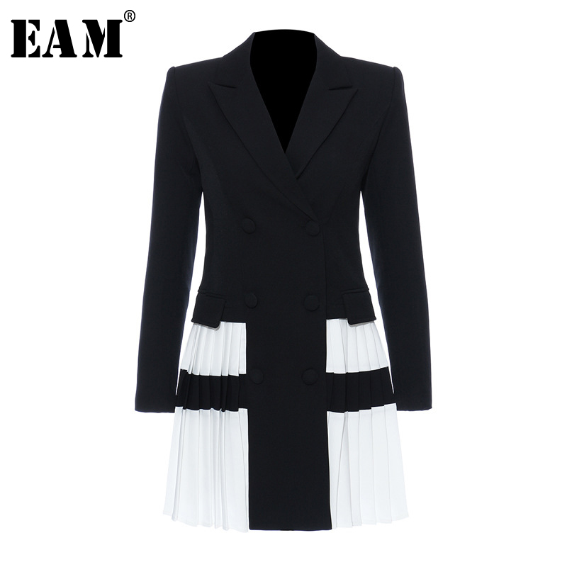 [EAM]  Women Black Contrast Color Pleated Blazer New Lapel Long Sleeve Loose Fit  Jacket Fashion Tide Spring Autumn 2020 1T306