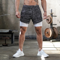 Joggers Shorts Mens 2 in 1 Short Pants Gyms Fitness Bodybuilding Workout Quick Dry Beach Shorts