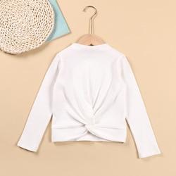 Детская футболка, новинка, белая футболка из чистого хлопка с длинными рукавами, новинка, Однотонная футболка для девочек в западном стиле, ...