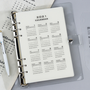2021 Calendar PP Divider A5 A6 Loose Leaf Notebook Planner Index Sheet Binder Category Planner Filofax Inner Clip