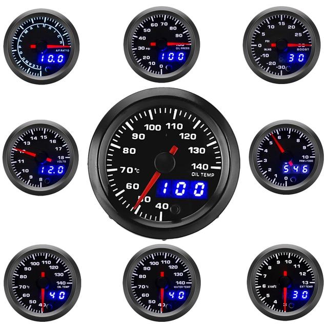 "2"" 52mm Car Gauge LED Dual Display Boost Tachometer Water Temp Oil Exhaust Temp Oil Pressure Volt Air Fuel Ratio  Gauge 7 Colors"