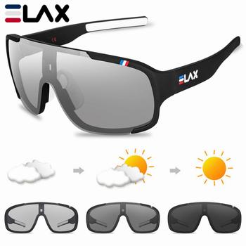 Spolaryzowane fotochromowe UV400 Outdoor Road okulary rowerowe sportowe okulary rowerowe mężczyźni kobiety rowerowe okulary rowerowe tanie i dobre opinie ELAX 140 mm Poliwęglan Octan 60 mm UV400 Photochromic WHITE bicicletas occhiali glasses oculos