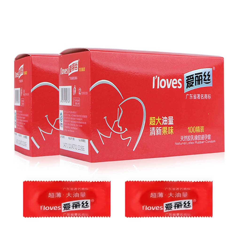HoozGee I Loves Condoms Fruit Flavor Extra Safe Super-lubrication Latex Condom for Men Sex Toy Products 1/10/100Pcs/Lot